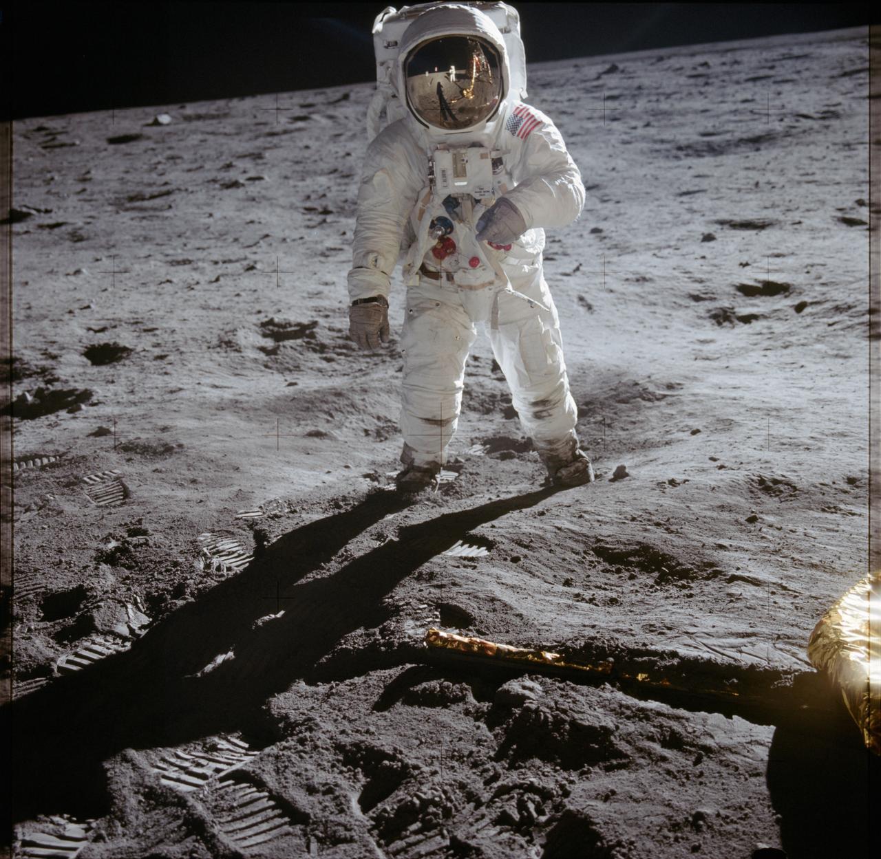 (20 July 1969) --- Astronaut Edwin E. Aldrin Jr., lunar module pilot, walks on the surface of the moon near the leg of the Lunar Module (LM)