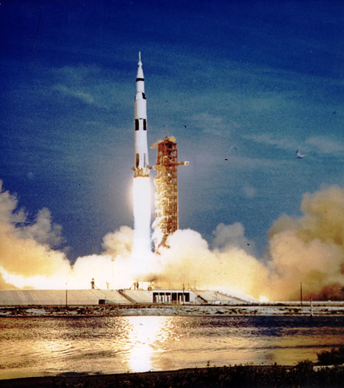 The Apollo 11 mission, the first manned lunar mission, launched from the Kennedy Space Center, Florida via the Marshall Space Flight Center (MSFC) developed Saturn V launch vehicle on July 16, 1969 and safely returned to Earth on July 24, 1969. The Saturn V vehicle produced a holocaust of flames as it rose from its pad at Launch complex 39. The 363 foot tall, 6,400,000 pound rocket hurled the spacecraft into Earth parking orbit and then placed it on the trajectory to the moon for man's first lunar landing. Aboard the space craft were astronauts Neil A. Armstrong, commander; Michael Collins, Command Module pilot; and Edwin E. Aldrin Jr., Lunar Module pilot. With the success of Apollo 11, the national objective to land men on the Moon and return them safely to Earth had been accomplished.